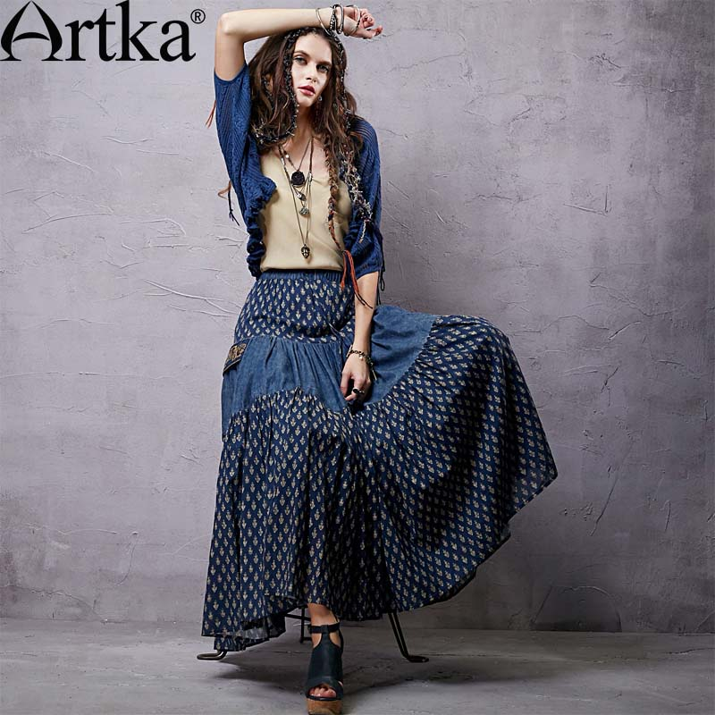 Artka Womens Retro Denim Patchwork Skirts Pocket Decorate Embroidery Design Fashion Lady Cotton Long Skirts QA14151C PRESELLÎäåæäà è àêñåññóàðû<br><br>