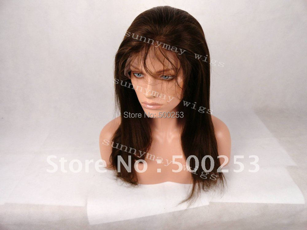 150% Density Yaki Straight Brown Color Chinese Virgin Hair Full Lace Wigs(China (Mainland))