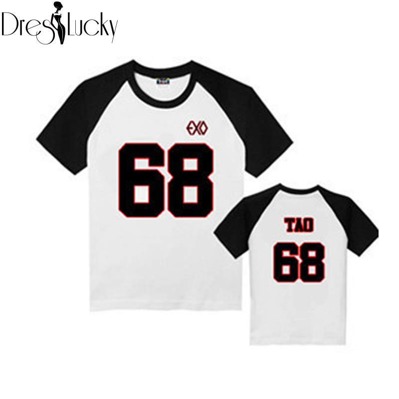 EXO 2016 New t-shirts Summer Short Sleeve t shirt women Couple Clothes Harajuku Tee Letter Number Print Casual Sport Tops Shirts(China (Mainland))