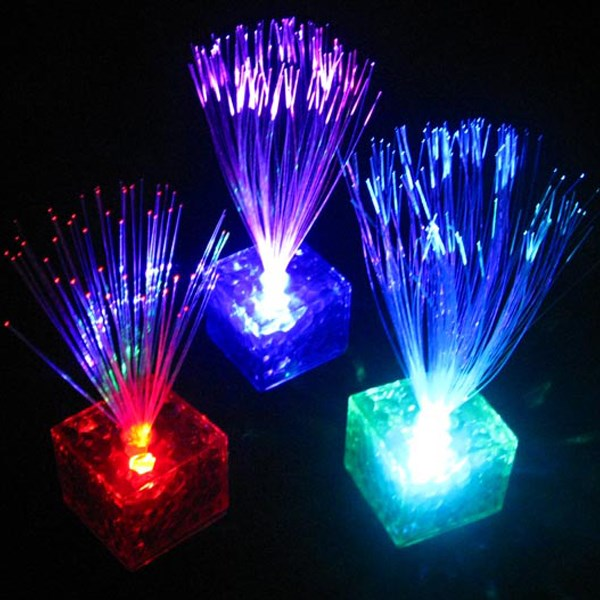 1PC Colorful lovely and beautiful Changing Optical Fiber Flashing LED Cube Night Light Lamp Home Club Party Gift Energy-saving(China (Mainland))