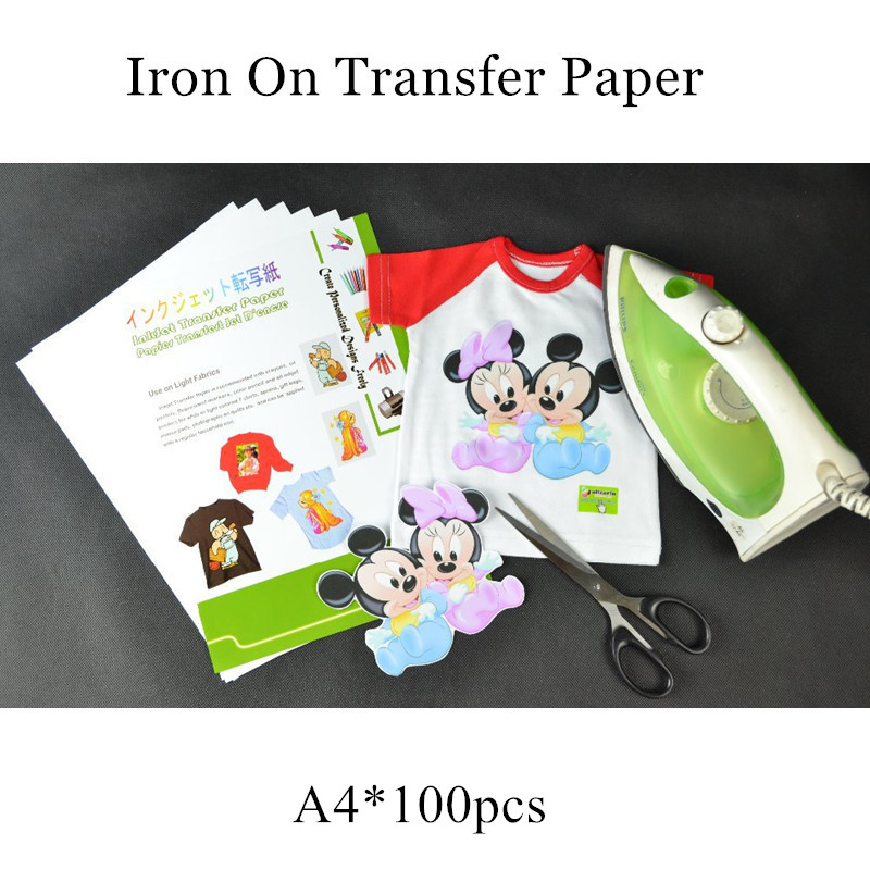 (100pcs/lot) Iron on Inkjet Heat Transfer Printing Paper For t shirts A4 Ink Fabric Transfer Paper Papel Transfer Cotton Paper(China (Mainland))