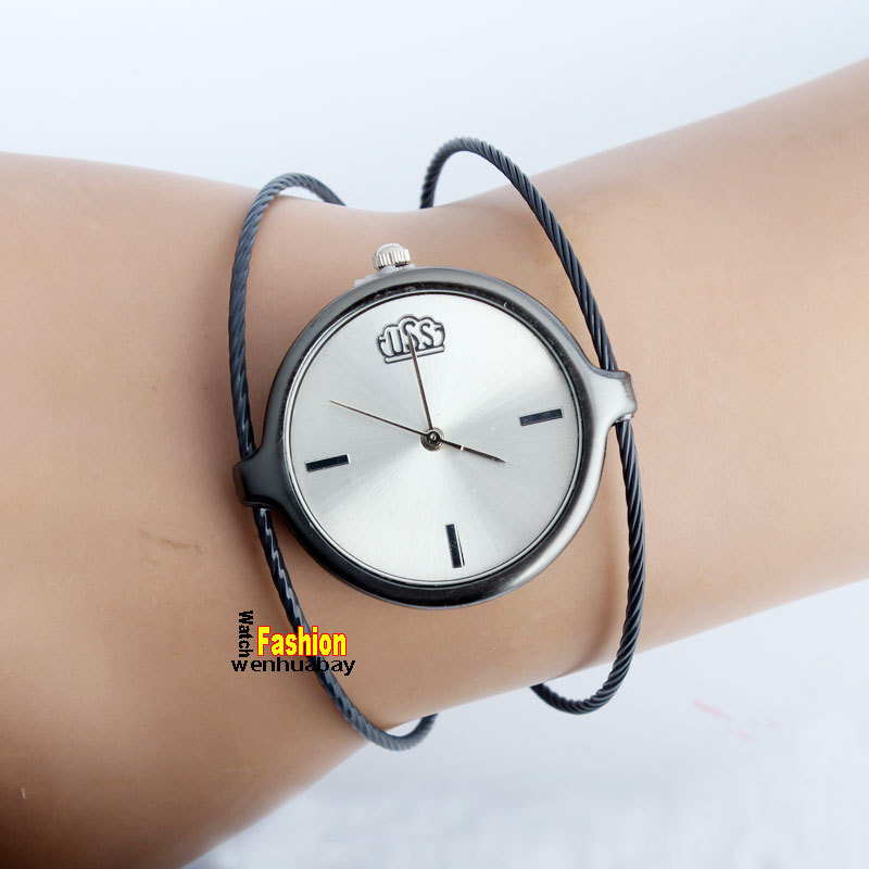 Fashion Women Lady Girl Steel Wire Round Dial Hour Analog Quartz Bracelet Bangle Wrist Watch Elegant