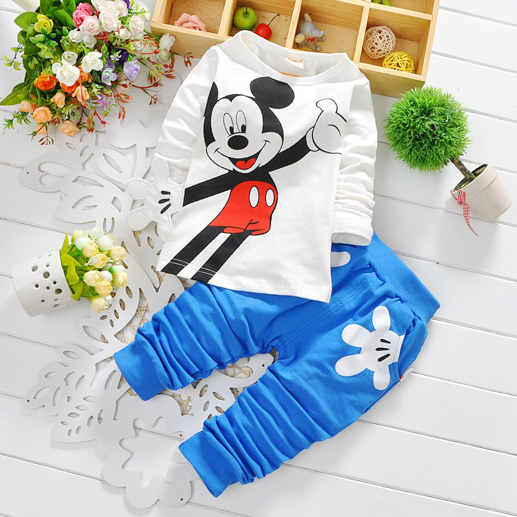 Spring children cartoon clothing sets boys girls Minnie cotton long sleeve shirts pants baby sports suits