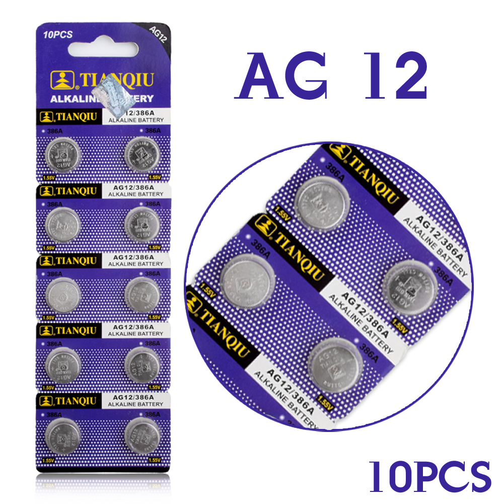 TD Button Battery 10pcs LR43 Button Cell Coin Battery Alkaline AG12 V12GA SR43W SG12 260 1.55V EE6213(China (Mainland))