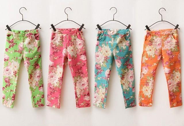 Девушки хлопок леггинсы мода дети печать красочные джинсовые брюки цветочные брюки
