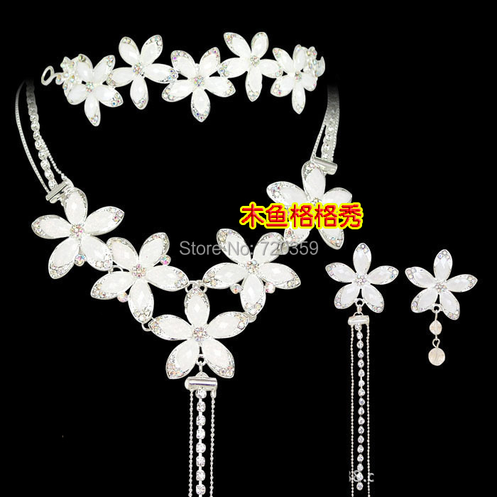 !Bridal Jewelry -Nice Rhinestone Wedding Sets Tiara Necklace Earring ,white flowers - Best Fit Store store