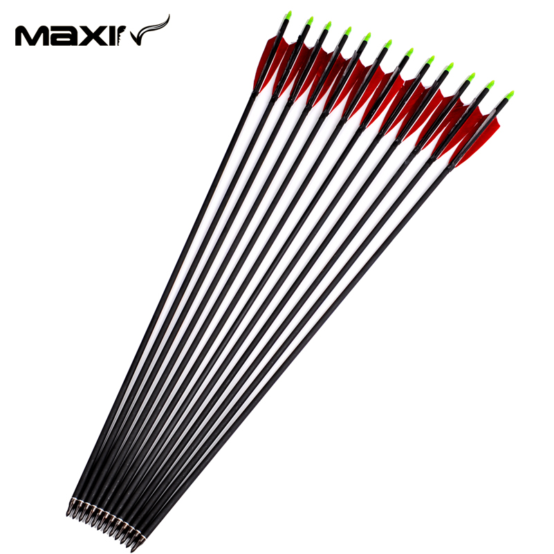 12Pcs/lot 85cm Archery Target Arrows with Turkey Feather Carbon Arrow Spine 500 For Outdoor Hunting Recurve Bow Arrow A
