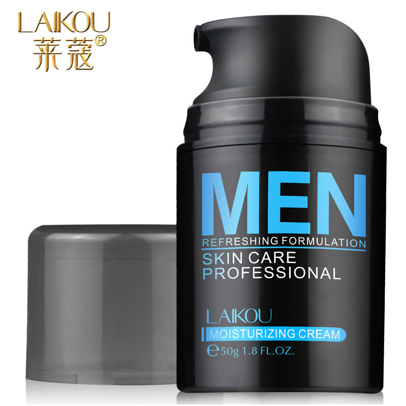 Brand LAIKOU Natural Men's Skin Care Cream Face Lotion Moisturzing Oil Balance Brighten pores minimizing 50g Men Facial Cream(China (Mainland))