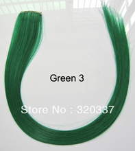 Hot Sale Girls Stunning Colorful Hair Assorted 34 Colors Synthetic Hair Clip in Hair Extensions 20PCS/Lot Green-3 Free Shipping(China (Mainland))