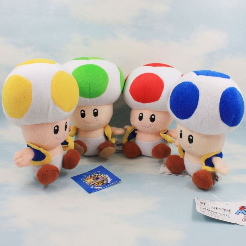 4PCS/SET Super Mario Bros Red Green Blue Yellow Mushroom Toad Kids Plush Toys Gift 7 inch 18cm