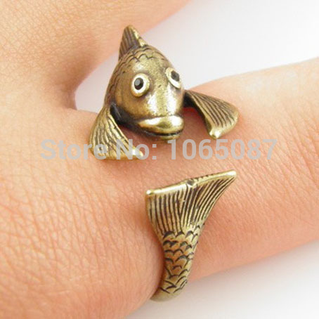 Adorable Antique Golden Fish Cat Adjustable Animal Wrap Hug Finger Ring Bunished Black Rhinestone Eyes Free Size #5-#9 2 Colors - BEYOND JEWELRY (No minimum order limit store)