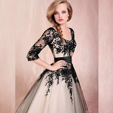 Ankle Length Wedding Dresses with Three Quarter Sleeve Illusion Lace Appliqued Black White Bridal Gown Customized(China (Mainland))