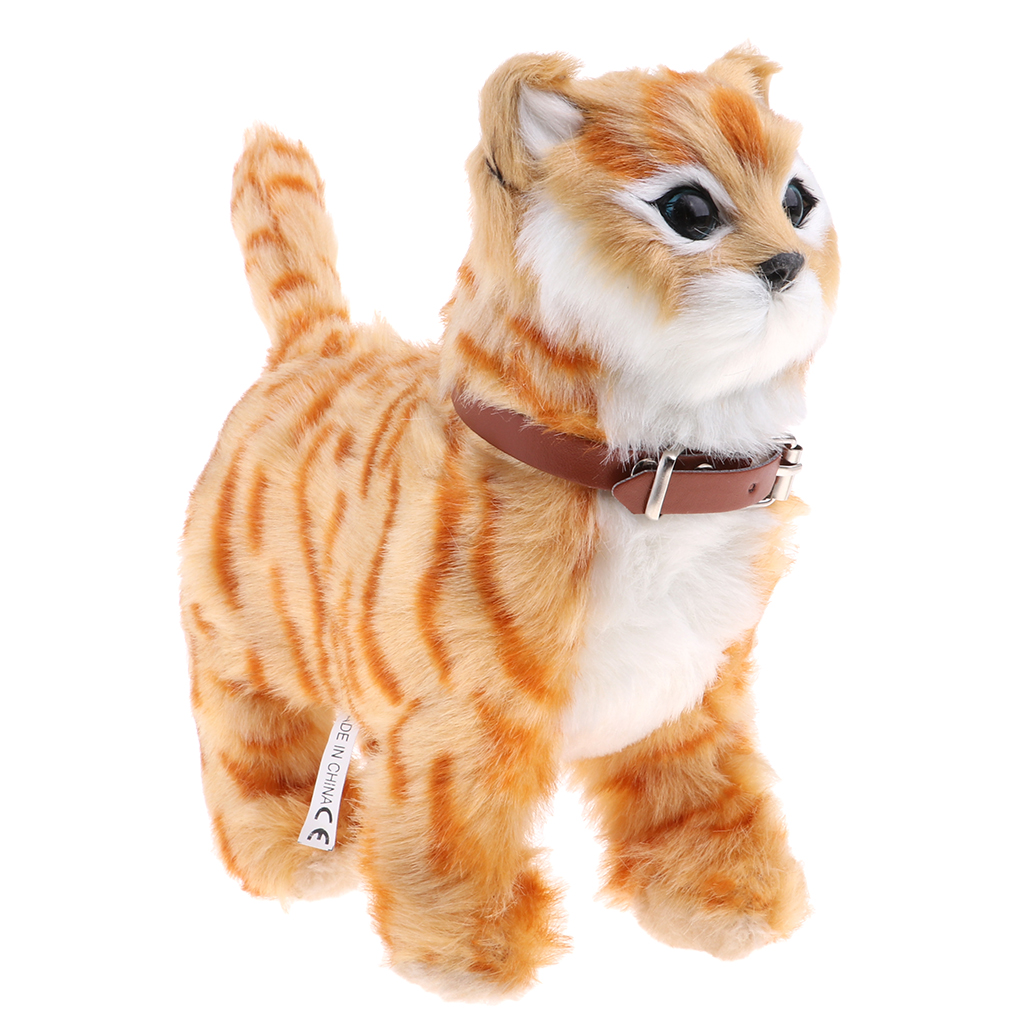 Electronic Music Pet Soft Stuffed Plush Cat Animal Toys Walking Cat Meow Toys Battery Operated Kids Children Toys Birthday Gifts
