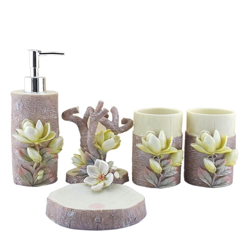 Personality 5pcs 3d lily sculpture resin bathroom for Bathroom accessories set