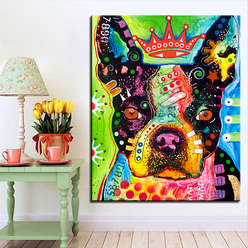 Large size Print Oil Painting Wall painting Boston Terrier Pop art Decorative Wall Art Picture For Living Room paintng No Frame(China (Mainland))