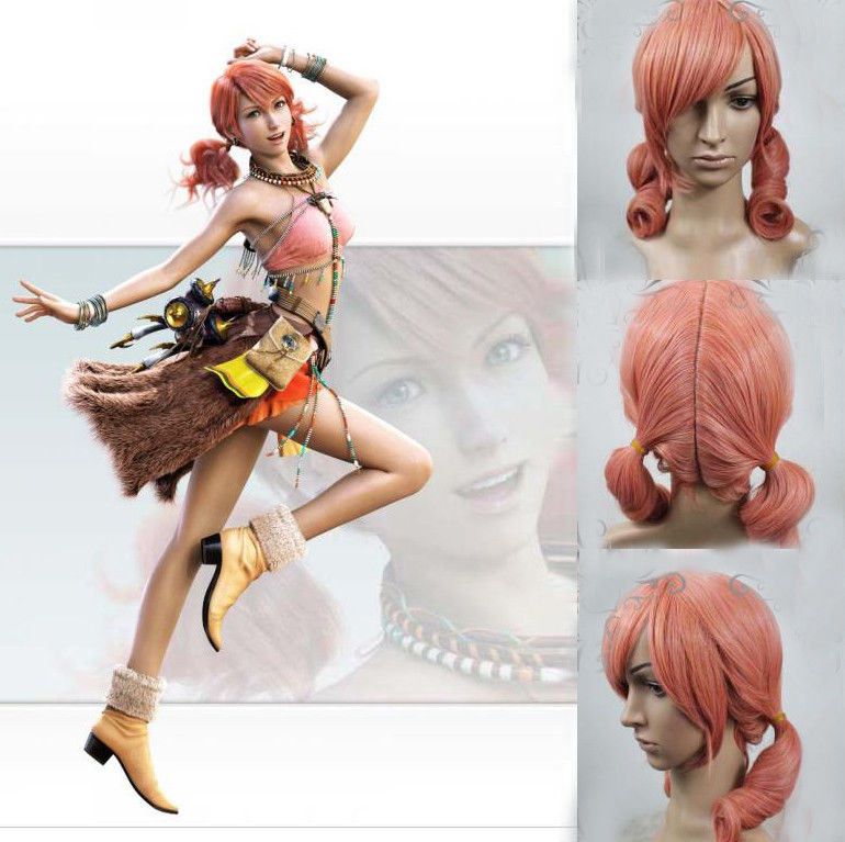 Hot heat resistant Kanekalon Party hair&gt;&gt;FINAL FANTASY 13 Oerba Dia Vanille Cosplay Girl Short Pink Costume Wig Ponytails<br><br>Aliexpress