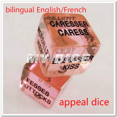 Wholesale unique 5 pairs 10 pieces/Lot Sex Dice,Sex Toy ,Adult Toy 20mm Bilingual English/French Transparent purple appeal dice(China (Mainland))