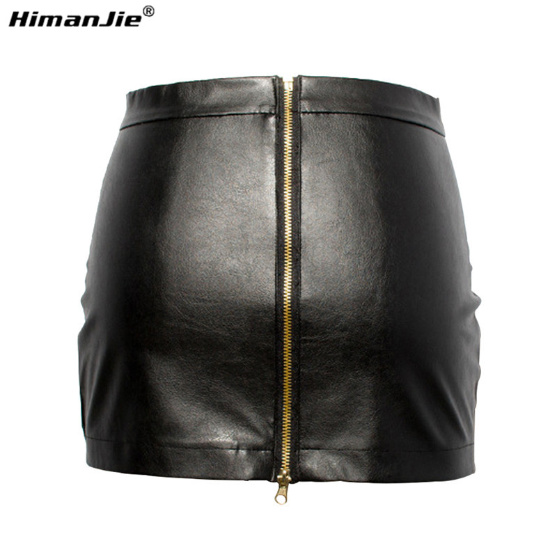 HimanJie Women Black PU Leather Tight Sexy Bodycon Mini Leather Skirt Short Pencil Skirts Clubwear(China (Mainland))