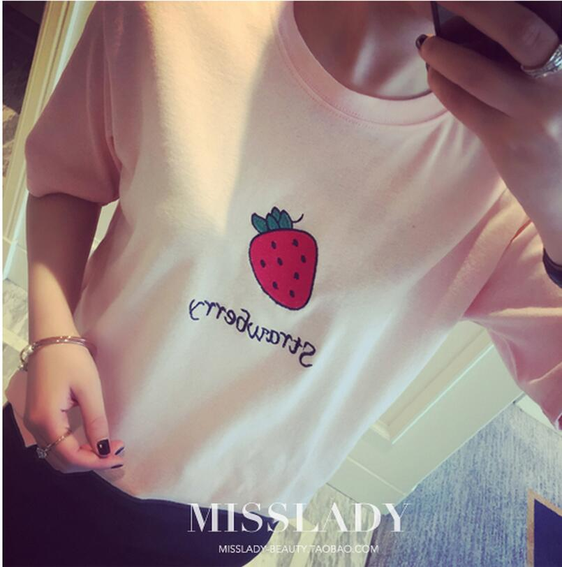 2016 Hot sale new Free shipping new summer institute BF wind Lovely fruit yards was thin short-sleeved T-shirt women(China (Mainland))