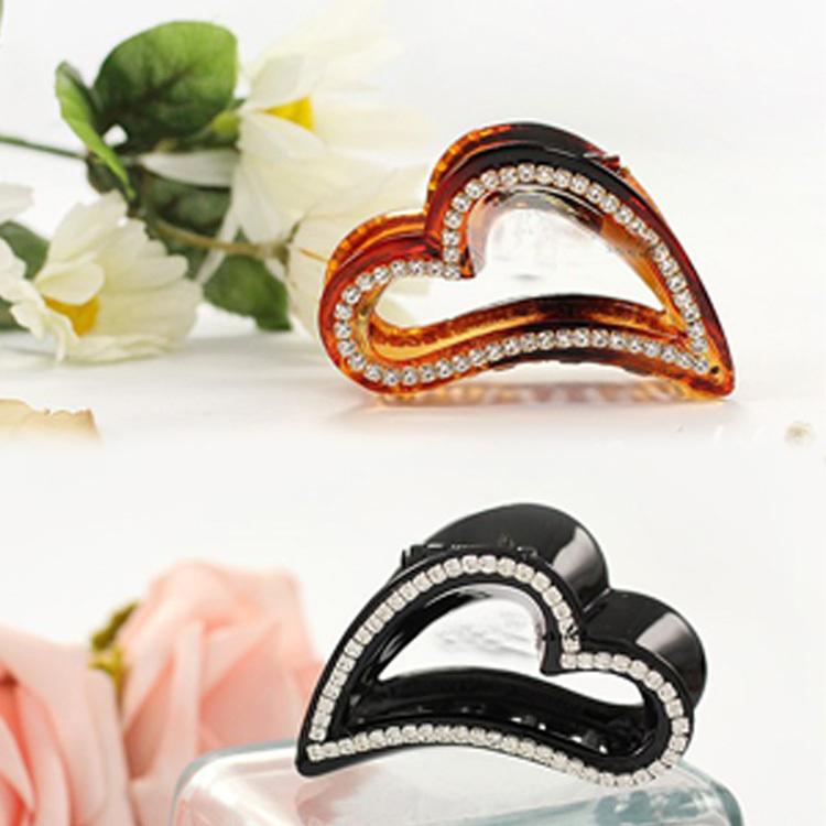 Fashion Love Heart Shaped Rhinestone Hairpins Peach Hair Clip Hair Accessories 2 colors HDR-011933(China (Mainland))