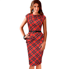 2016 New Womens Vintage Elegant Belted Tartan Peplum Ruched Tunic Party Sleeveless Bodycon Sheath Dresses 766