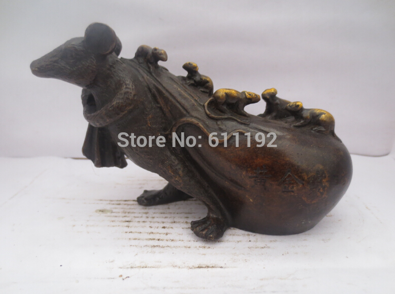 Folk art collectible Antique Hand carved Bronze Gilt Mice sculpture, Chinese Zodiac crafts,Unique Gift(China (Mainland))