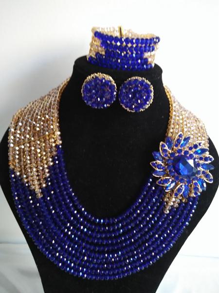 2016-Luxury African beads jewelry set Royal Blue Crystal beads bride jewelry nigerian wedding african beads jewelry Set KL-1050<br><br>Aliexpress