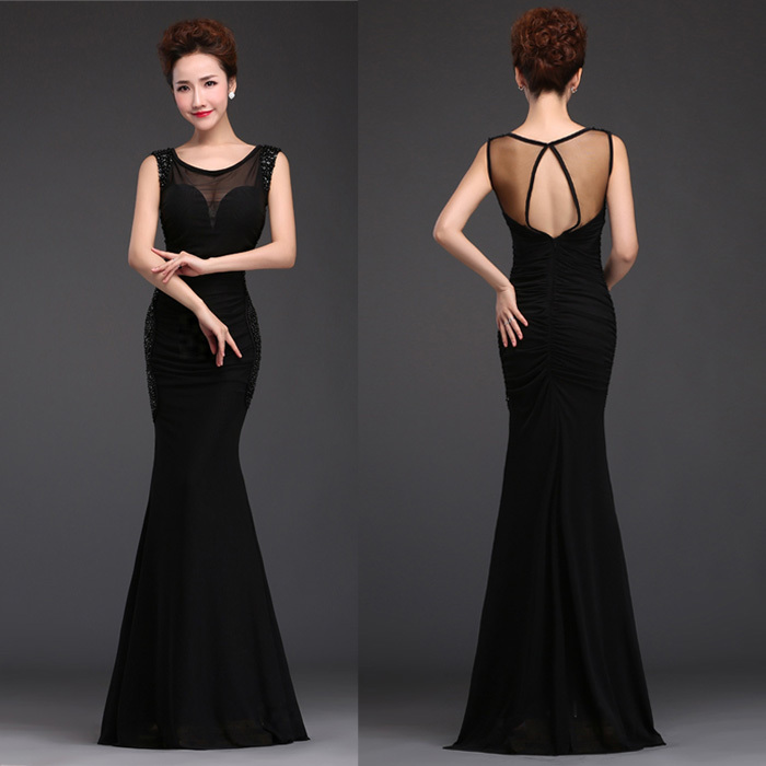 Sexy V-neck Black Prom Dress 2015 See Throught Backless Mermaid Long Women Evening Party Dresses Plus Size(China (Mainland))
