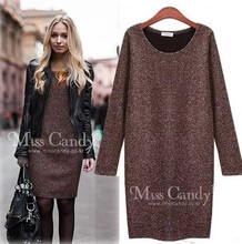 vestidos New 2015 Autumn And Winter Velvet One-piece women dress Fashion Casual Slim Long-sleeve Basic dress Plus Size M~ XXL(China (Mainland))