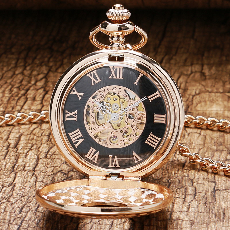 2016 New Arrival Bronze Prepared Frame Design With Hollow Glass Case & Flower Design Dial Skeleton Mechanical Fob Pocket Watch(China (Mainland))