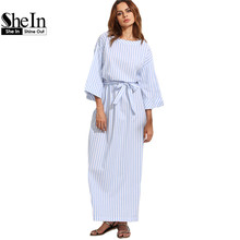 Buy SheIn Blue Striped Bow Waist Long Dresses Womens Summer Three Quarter Length Sleeve Round Neck Casual Maxi Dress for $16.97 in AliExpress store