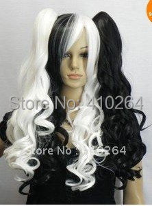 $wholesale_jewelry_wig$ free shipping VOCALOID MIKU white black Infinite HOLiC 2 x clip ponytail queen Accessories wig