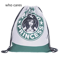 Who Cares New 3D Printing Backpack Women Lovely Mermaid Mochila Feminina Fashion Casual Drawstring Bag Girl