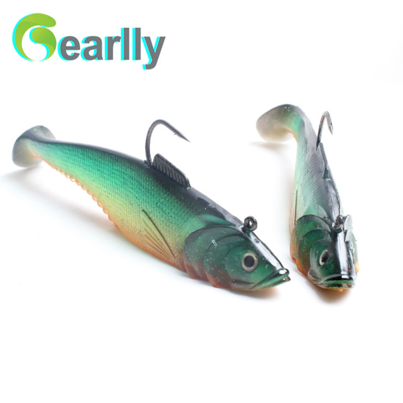 2pcs/lot 6.5″/16.5cm length big sea fishing soft Lure carp with agile carbon steel sharp hook