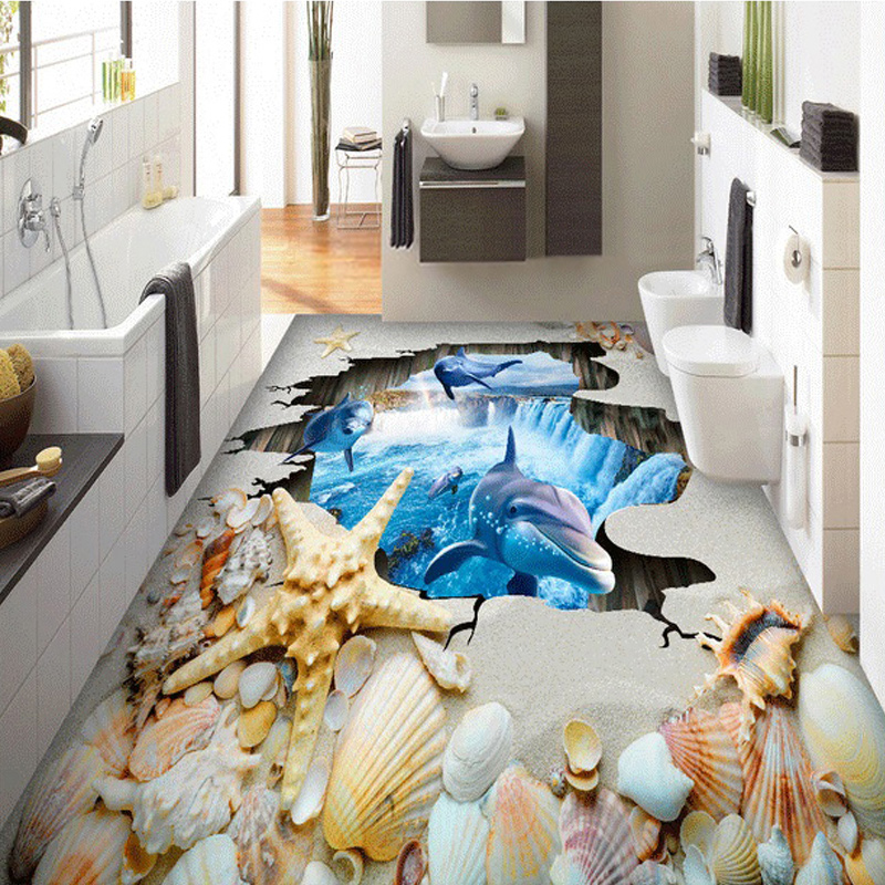 Custom Space Art Wall Mural 3D Shell Beach Dolphin Living Room Bedroom Bathroom PVC Waterproof Self-adhesive Floor Wallpaper(China (Mainland))