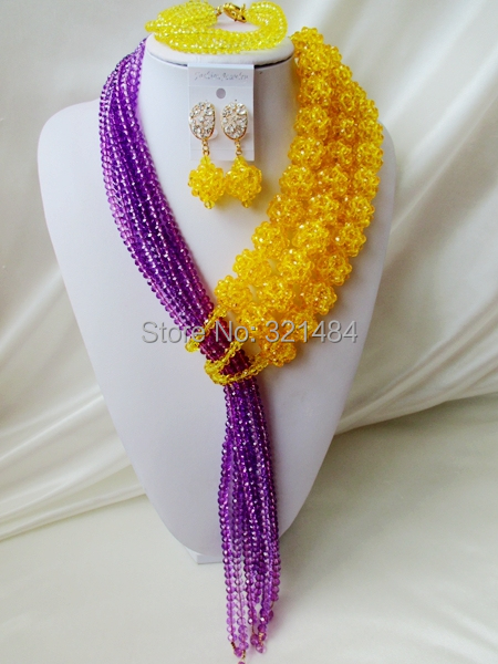 Lovely! Yellow Ball Purple Strand Crystal Costume Necklaces Nigerian Wedding African Beads Jewelry Set VC565<br><br>Aliexpress
