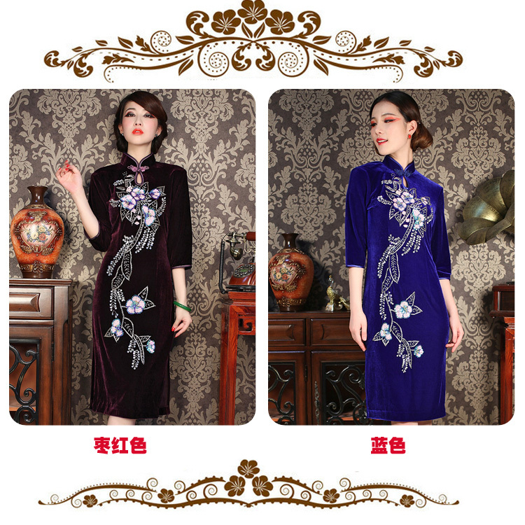 Chinese traditional brand stretch velour cheongsam qipao the half sleeve short qipao women dress S-XXXL free shipping  SH002Одежда и ак�е��уары<br><br><br>Aliexpress