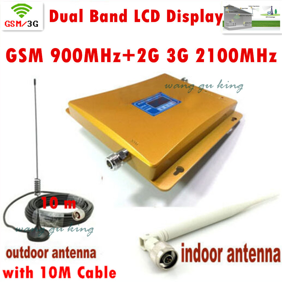 LCD Display Mobile Phone Signal Booster GSM 900 Signal Repeater W-CDMA 3G 2100 Cell Phone Amplifier With Cable Antenna(China (Mainland))