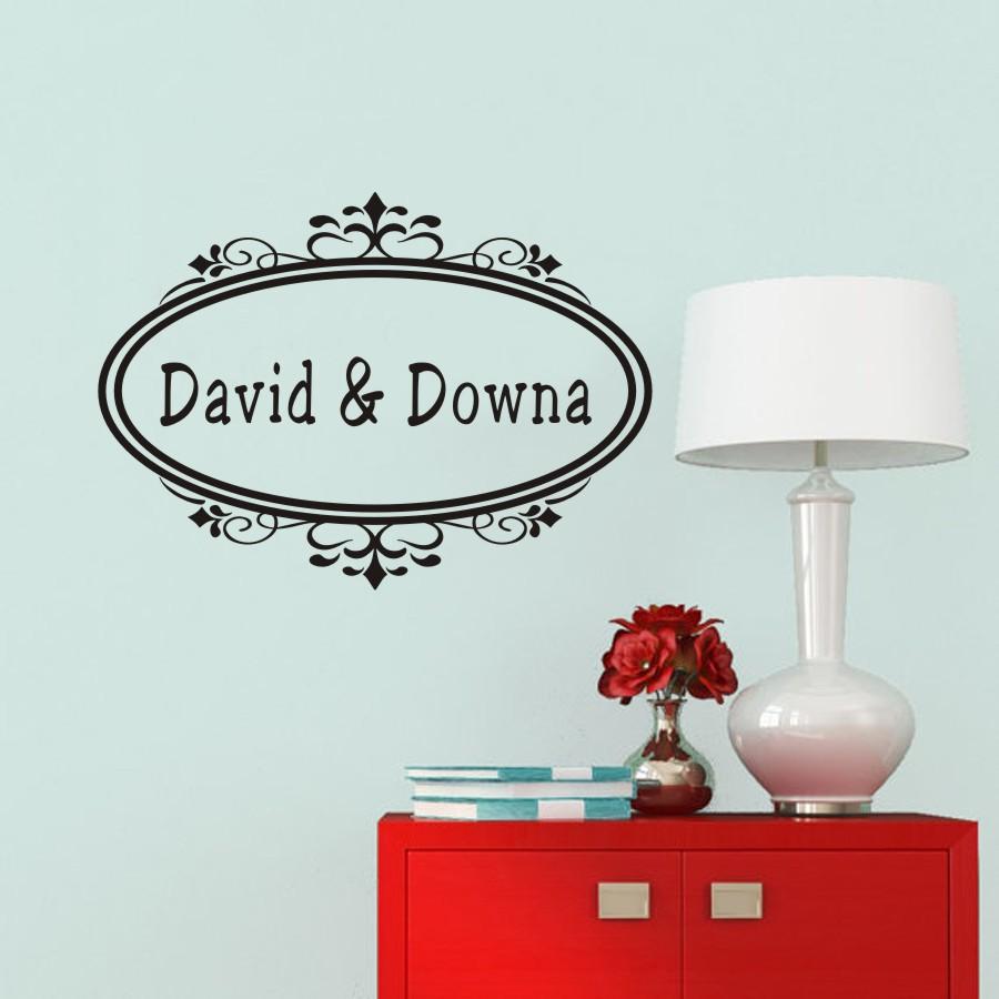 顧客個人化された名前フレーム閉じた楕円形の単語を引用ドレスルームと言う名のレタリング芸術のビニールス.