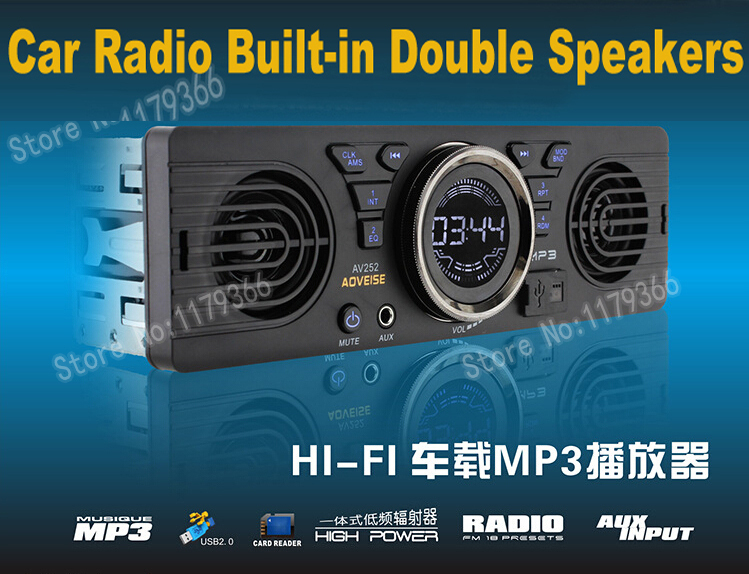 Car Radio Stereo FM MP3 Player Build in Double Speakers Horn Aux with USB Port and SD Card Slot / Auto Audio ZQC24 Free Shipping(China (Mainland))