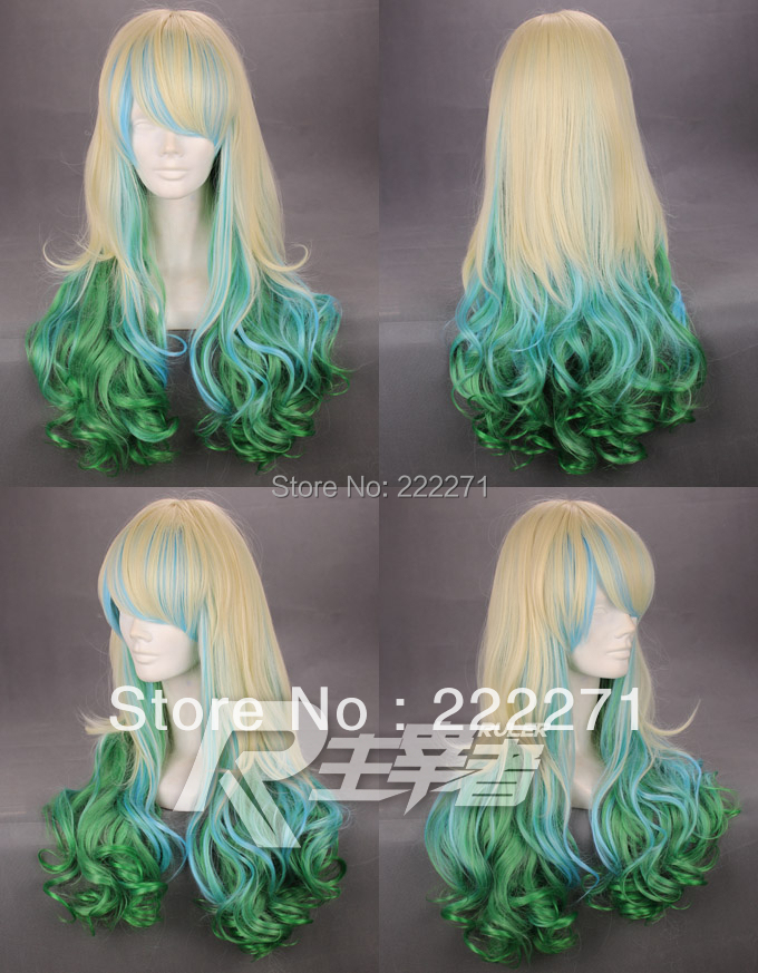 FREE SHIPPING Anime 60cm HARAJUKU lolita gradient color green and blonde culy costume cosplay wig r<br><br>Aliexpress