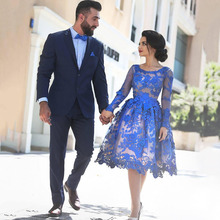 Elegant Royal Blue Cocktail Dresses 2017 Short Lace Appliques Long Sleeve Knee Length Women Fashion Party Gowns For Graduation(China (Mainland))