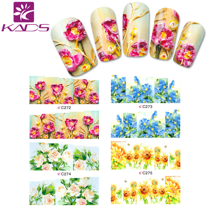 KADS C272-275 Water Transfer Nail Stickers Beauty Rose&Sunflower&Orchis Design Decals Full Cover Foils Polish Decoration(China (Mainland))