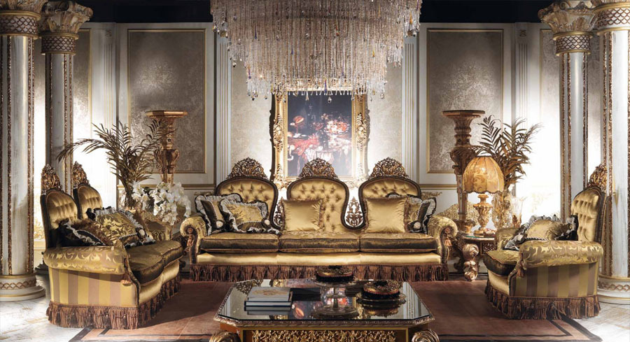 European Style Luxury Imperial Living Room Set Golden Sofa Set Top Quality Fabric