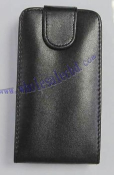 30 pcs Black Color Flip PU Leather Cover Case For iphone 4 4G