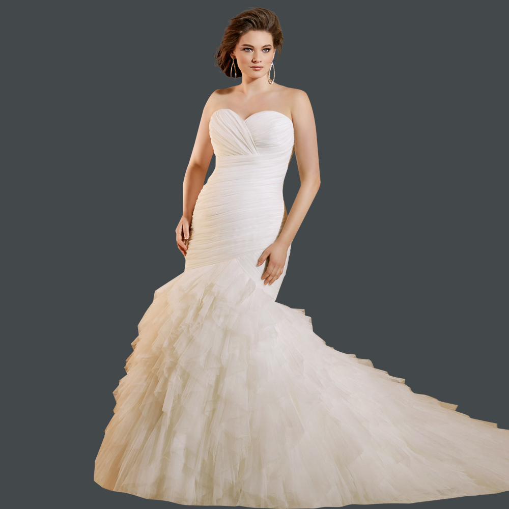 2015 fashionable ruched pleated sweetheart bridal dresses
