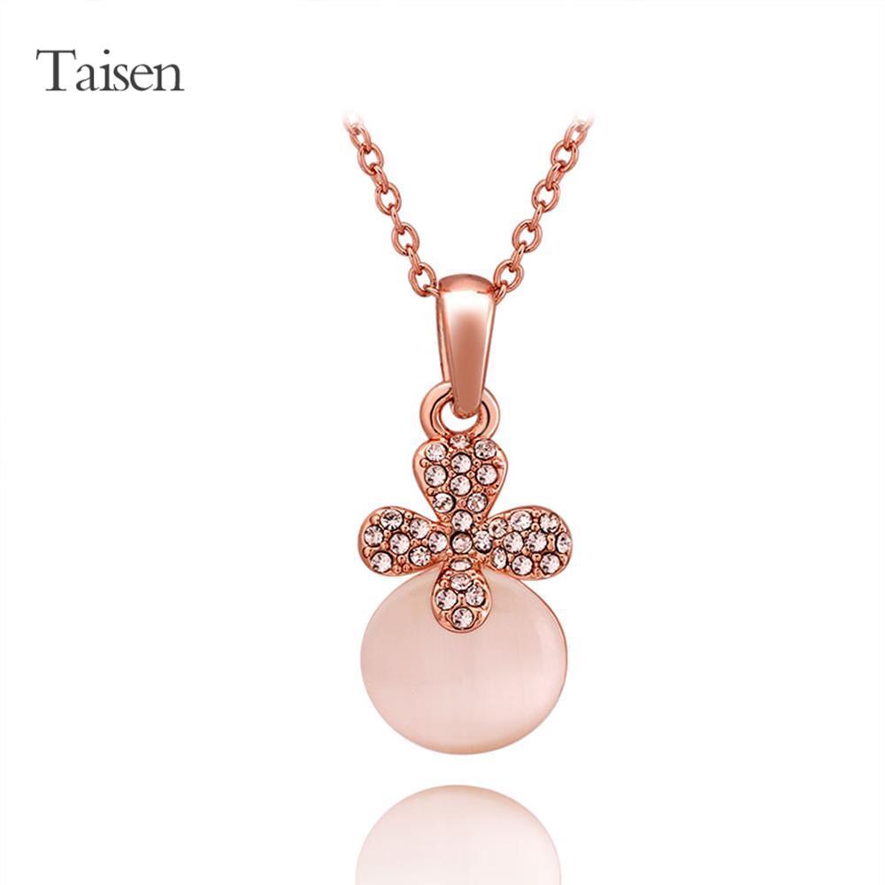 Women jewelry hot sale rose Gold Plated Necklace sweets women Pendants Cat Eye Flower czech drill Fashion romantic Pendant(China (Mainland))