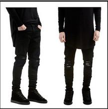 designer Brand new men black jeans skinny ripped Stretch Slim fashion hip hop swag man casual denim biker pants overalls Jogger(China (Mainland))