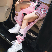 2016 Harajuku Pink Personalized Embroidery BF Big Hole Loose Harem Pants for Summer Casual Trousers Tide Female Hollow 1352(China (Mainland))