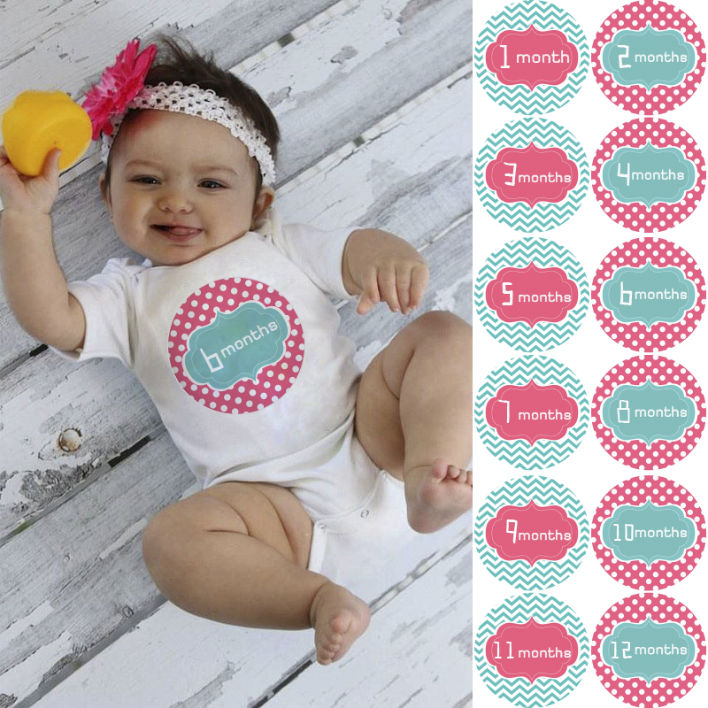 Onesie sticker, Monthly Baby Sticker, Baby Shower Gift Photo Prop Milestone Stickers for Baby(China (Mainland))
